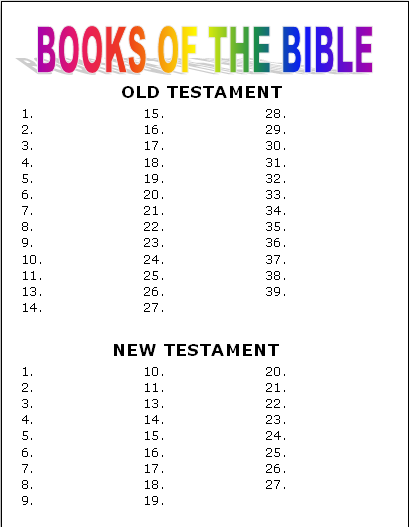 Books Of The Bible Poster Game