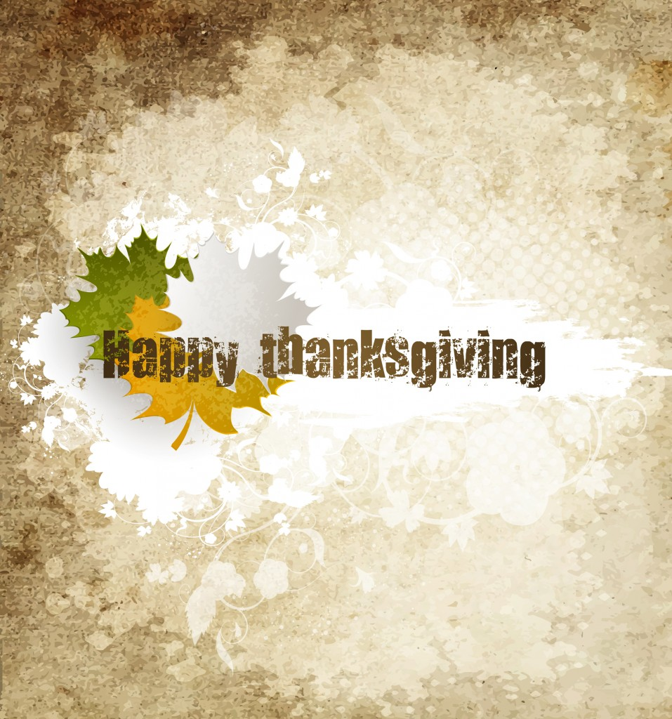 Grunge Happy Thanksgiving Holiday Background With Maple Leaves